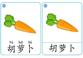 Vegetables Chinese Flashcards - 蔬菜字卡