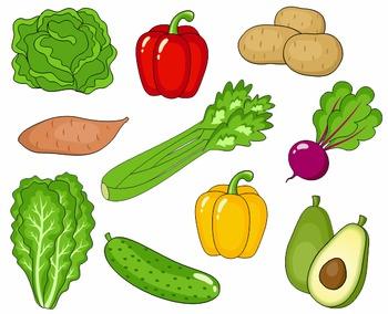 Vegetables Clip Art, Cute Veggies Clipart 2, Digital Clip Art