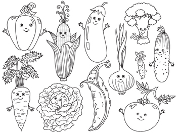 Vegetables Clipart - Digital Vector Vegetables Cartoon Set