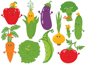 Vegetables Clipart - Digital Vector Vegetables Cartoon Set