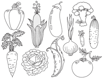 Vegetables Clipart - Digital Vector Vegetables Set