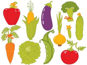 Vegetables Clipart - Digital Vector Vegetables Set