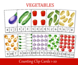 Vegetables Count and Clip Cards, Montessori counting, Number 1 - 20, Flashcards