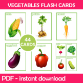 Vegetables Flash Cards; Kindergarten; Preschool; Homeschoo