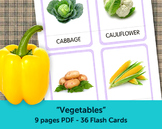 Vegetables Flash Cards, Printable Cards, Flashcards for Kids, Kindergarten cards