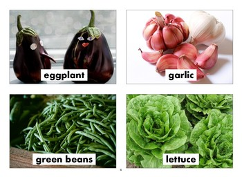Vegetables Flashcards with Vocabulary