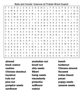Vegetables, Fruits, and Nuts Word Searches
