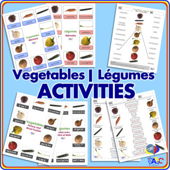 10 Vegetable Worksheet Activities in English and French