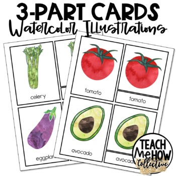 Vegetables Montessori 3-Part Cards {PreK-2}, ELA, Vocabulary