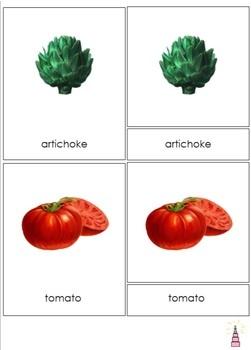 Vegetables Montessori 3-part Cards