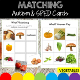 Vegetables Pictures and Word Cards, Matching Worksheets for Speech Therapy