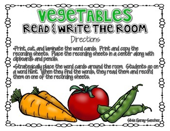 Vegetables Read and Write the Room Center