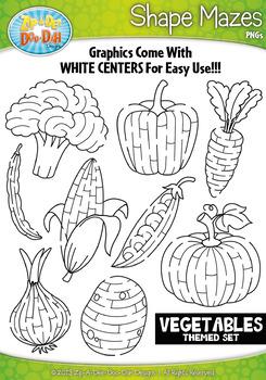 Vegetables Shaped Mazes Clipart {Zip-A-Dee-Doo-Dah Designs}