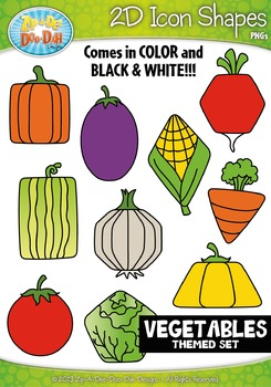 Vegetables 2D Icon Shapes Clipart {Zip-A-Dee-Doo-Dah Designs}