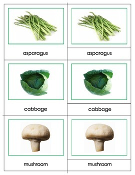 Vegetables: Three Part Cards