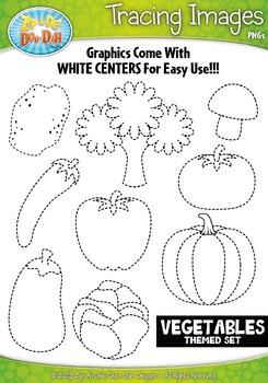 Vegetables Tracing Image Clipart {Zip-A-Dee-Doo-Dah Designs}