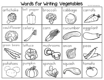 Vegetables Word List - Writing Center