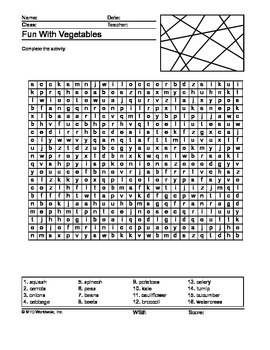 Vegetables Word Search Printable