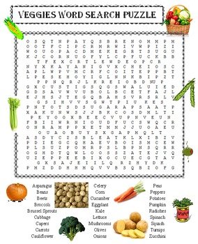 Vegetables Word Search Puzzle