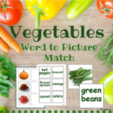 Vegetables Word to Picture Matching