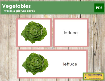 Vegetables: Words and Picture Cards