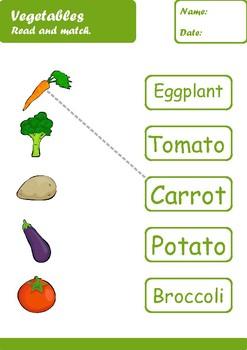 Vegetables Worksheets Age 5-6