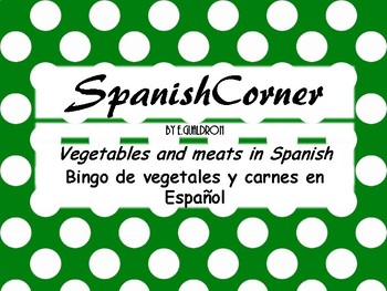 Vegetables and meats in Spanish Bingo