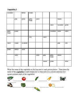 Vegetables in English Sudoku