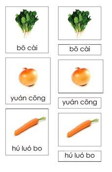Vegetables in Mandarin/Chinese (3 Part Montessori Cards)