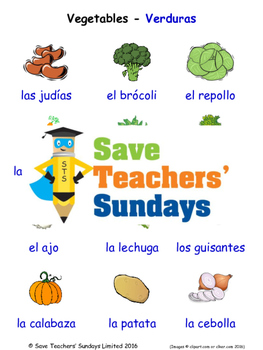 Vegetables in Spanish Worksheets, Games, Activities and Flash Cards
