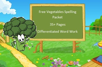 Free Vegetables spelling packet using 20 words