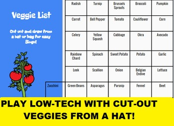 SMARTboard Veggie Bingo and SMARTboard Vegetable Selector; Culinary, Nutrition