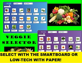 SMARTboard Veggie Bingo and SMARTboard Vegetable Selector; Culinary, Nutrition