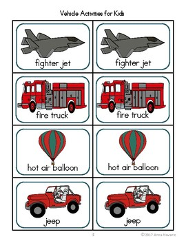 Vehicle Activities for Kids