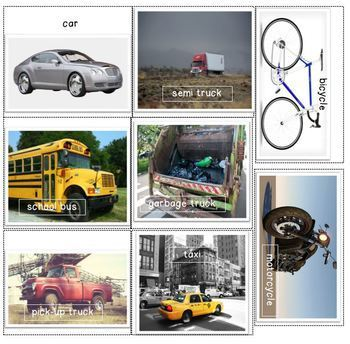 Vehicle Book, Flash Cards, & Sorting