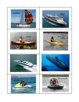 Vehicle Categorizing Land, Air, Water - Actual Pictures