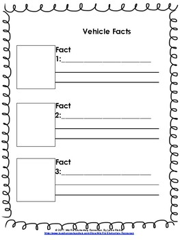 Vehicle Report! {For Primary Grades!}