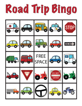 Vehicle Road Trip Bingo Cards