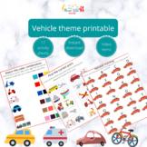 Vehicle theme printable -Theme printable for kids