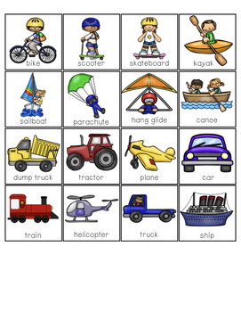 Vehicles: Air, Land, and Water Sort File Folder Activities