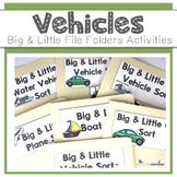 Vehicles Big and Little Sort File Folder Activities