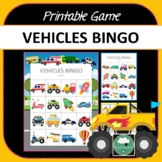 Vehicles Bingo - Cute Vehicles Themed Bingo Game for Preschool & K-2 kids