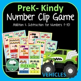 Vehicles Clip Card Game Addition and Subtraction Printable Preschool K-2 Numbers