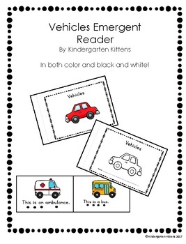Vehicles Emergent Reader- Color and Blackline
