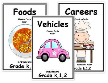 Vehicles, Food, Careers Phonics Cards Sets