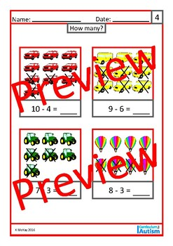 Basic Concepts Vehicles- Match, Label, Count, Add, Subtract, Autism, Sped