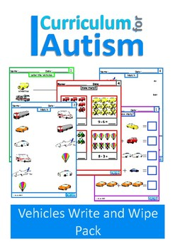 Autism, Vehicles- Match, Label, Count, Add, Subtract Task