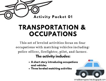 Vehicles & Occupations: Activity Packet 01