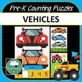 Vehicles Pre-K Counting Puzzles Cars Number Puzzles 1-10 +