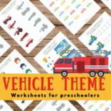 Vehicles Worksheets (Toddler, Preschool)